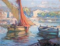 retour de pêche dans le port des martigues by louis fortuney