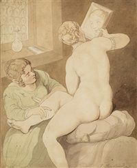 nude with a mirror by thomas rowlandson