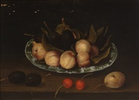 still life with fruit on a wanli porcelain dish by jacob van hulsdonck