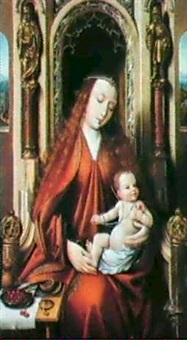 the vigin and child enthroned by master of saint sang