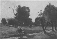 kühe auf einer weide mit bachlauf by gerard altmann