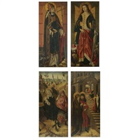 saint cornelius holding a horn - the flight into egypt (+ saint catherine of alexandria dressed in red - saints anne and joachim; dbl-sided diptych) by flemish school-brussels (16)