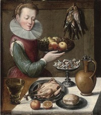 a young woman holding apples, pears, and grapes on a pewter plate in a kitchen interior by lucas van valkenborch
