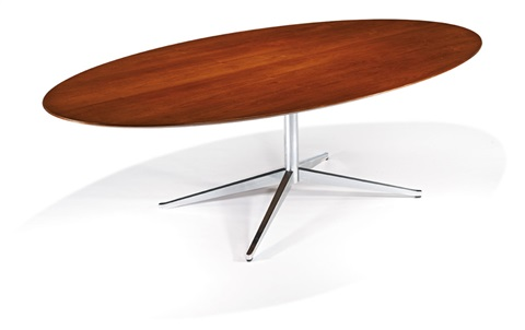 Oval Table Desk (model 2481d) By Florence Knoll