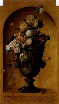 a vase hung with flower garlands, standing in a niche by p.a. robart