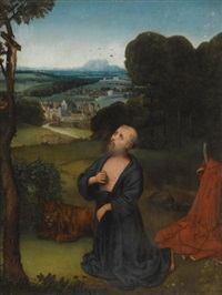 the penitent st. jerome kneeling before a portable crucifix, an extensive landscape beyond by adriaen isenbrant