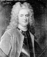 portrait of maurice thompson, lord haversham, wearing armour and a scarlet coat by john kerseboom