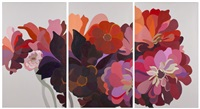 dahlias & zinnias (triptych) by laura grosch