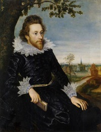 portrait of a gentleman in a slashed black doublet and lace collar and cuffs, holding a book in his right hand, by a tree in a landscape, a town beyond by anglo-flemish school (17)