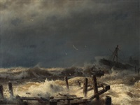 distress at sea by andreas achenbach