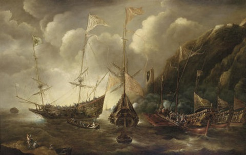 a mediterranean capriccio of a sea fight between european merchantmen and ottoman galeasses by andries van eertvelt