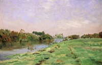 bords de rivière by edmond charles joseph yon