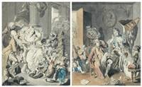l'heureuse famille - la scène de ménage paire de dessins by johann eleazar schenau