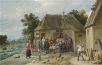 a countryside inn with revellers enjoying an afternoon's drinking, the innkeeper chopping wood in the foreground, and a pastoral landscape beyond by david teniers the younger