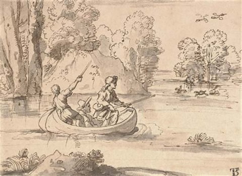 three men shooting duck from a boat by michel corneille the younger