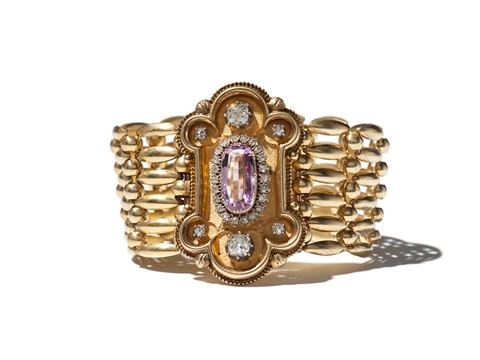 biedermeier bracelet in 14 c gold with amethyst prussia 1850s
