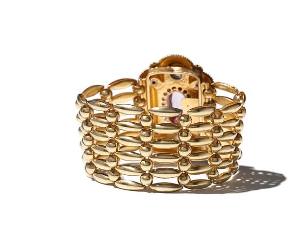 biedermeier bracelet in 14 c gold with amethyst prussia 1850s