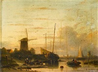 dutch river landscape by cornelis petrus t' hoen