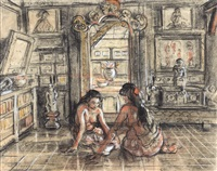 two ladies in an interior by adrien jean le mayeur de merprés