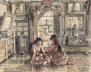 two ladies in an interior by adrien jean le mayeur de merprés