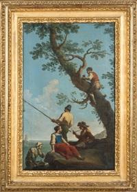 marine avec pêcheur & paysage de ruine avec un pâtre amenant un chevreau (2 works) by paolo monaldi