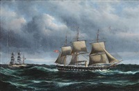seascape with the frigate jylland on open sea by peder nielsen foss
