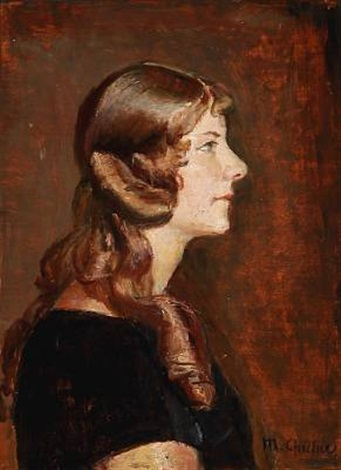 profile portrait of a woman by michael peter ancher