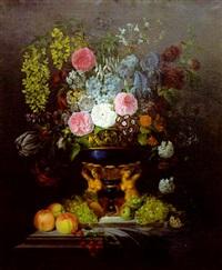 bouquet de fleur sur un entablement by edouard joseph françois autrique