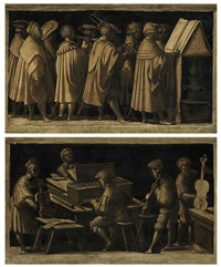 a procession of musicians (+ a multifold chamber organ player accompanying a trio of viol players; pair) by amico aspertini