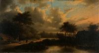 romantická krajina s rybníkem a stafáží by george gillis van haanen