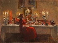 interior from skagens hotel with the owner by helga ancher