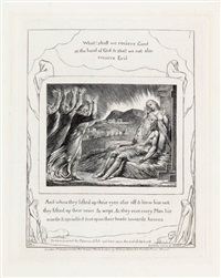 and when they lifted up their eyes afar off (from illustrations of the book of job) by william blake