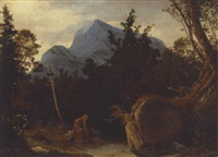 gebirgslandschaft mit mönch by august wilhelm julius ahlborn