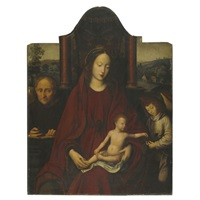 the holy family with an angel, an extensive landscape beyond by marcellus coffermans