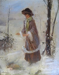 untitled (lady by campfire, winter, frozen lake, ice skates) by jean-ernest aubert