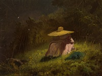 lady with straw hat by carl spitzweg