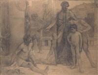 un spartiate montre à ses fils un ilote ivre by ferdinand sabatté