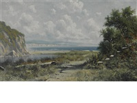 view of drakes beach, california by ransom gillet holdredge