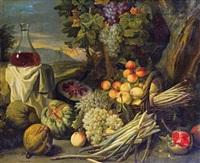 stillleben mit früchten, spargel und einer weinkaraffe by alexander coosemans