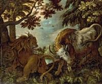 löwe und stier by roelandt savery