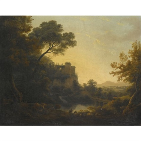wooded river landscape with peasants cattle goats and sheep before a ruined castle by william ashford