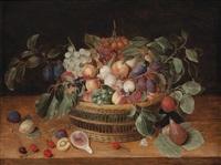 nature morte aux pêches, prunes et raisins dans une corbeille sur un entablement by jacob van hulsdonck