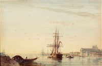 Venise, navire à l'entrée du Grand Canal