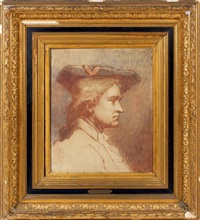 portrait d'homme au tricorne (sketch) by thomas couture
