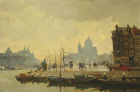 view of the prins hendrikkade with the st nicolaaskerk beyond amsterdam by willem alexander knip