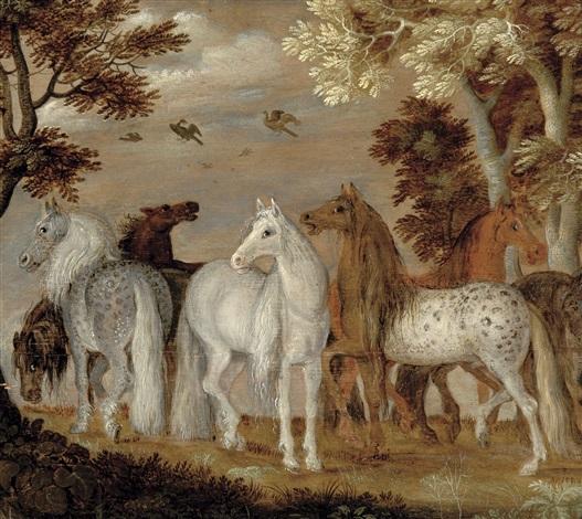 sept chevaux dans un paysage by roelandt savery