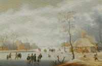 a winter landscape with figures skating on a frozen river beside a village by anthonie van stralen