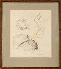 króliki i kurczątko - szkice (sketch) by léopold gottlieb