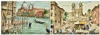 spanish steps, rome; venice canal scene, 1962 (2 works) by harry worthman