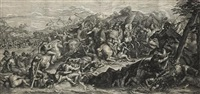 untitled (+ 2 others; 3 works; from triumphs of alexander; after charles le brun) by gérard audran